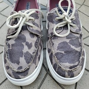 Sperry Shoes - Sperry Topsider Silver Metallic Camo Boat Shoes 10